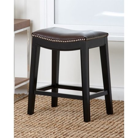 Groovy Abbyson Raffia 25 Leather Nailhead Counter Stool In Espresso Uwap Interior Chair Design Uwaporg