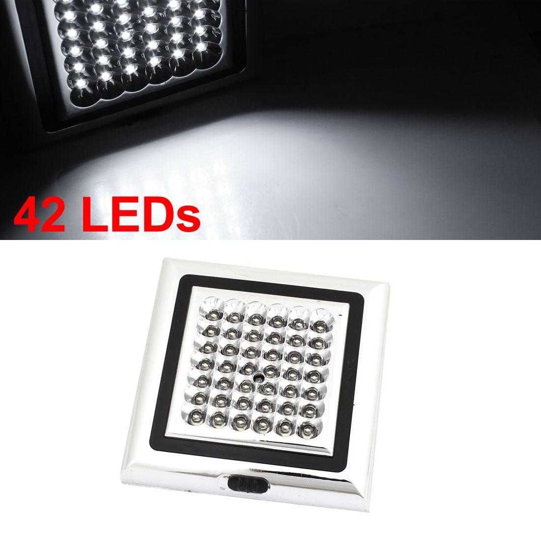Unique Bargains Silver Tone Shell White 42 LED 3 Settings Interior Light Lamp 12V for Car 12V