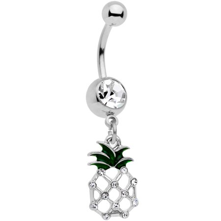 """Body Candy 14G 316L Stainless Steel Navel Ring Piercing Clear Accent Pineapple Belly Button Ring 7/16"""""""