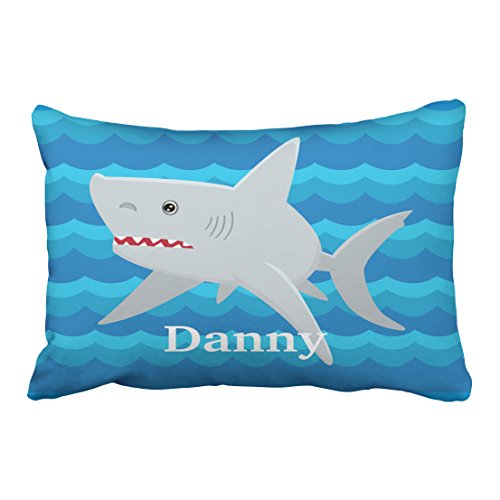 WinHome Rectangl Throw Pillow Covers Vintage Kids Shark Lover Waves Custom  For Boat Gift Pillowcases Polyester