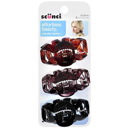 (2 Pack) Scunci Effortless Beauty Hair Clips, 3 count](Neon Hair Clips)