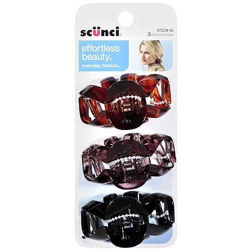 Scunci Effortless Beauty Hair Clips, 3 count