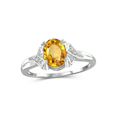 1.11 Carat Citrine Gemstone and Accent White Diamond