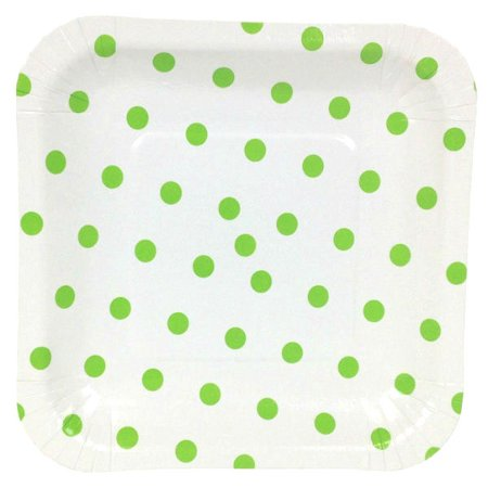 Just Artifacts Square Party Paper Plates (7.25in 12pcs) Green Apple Polka Dot](Green Polka Dot Paper Plates)