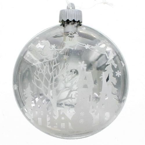 Glass LED Snowman Ornament