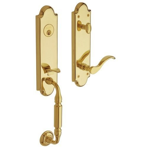 Baldwin 85350.003.RFD Manchester Emergency Exit Dummy Handleset with Wave Lever, Lifetime Polished Brass