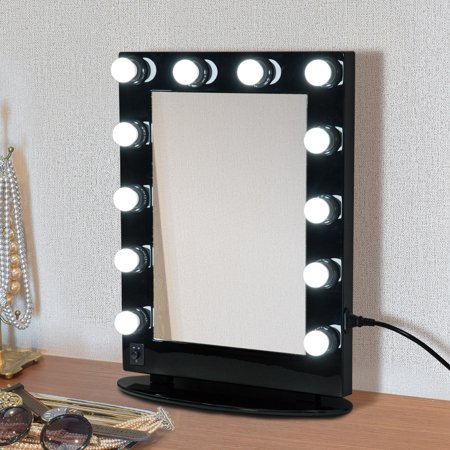 """20"""" x 26"""" Aluminum Alloy 26"""" Dimmable Illuminated Hollywood Style Vanity Mirror Mounted Home with 12 LED Bulbs - Black"""