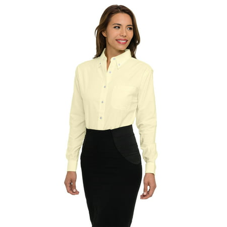 Tri Mountain Echo 742 Stain Resistant Long Sleeve Oxford Shirt  2X Large  Butter