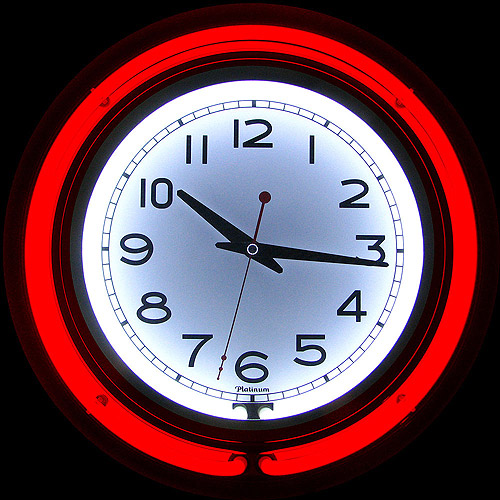 14 Double Ring Neon Clock Green Outer White Inner Ring