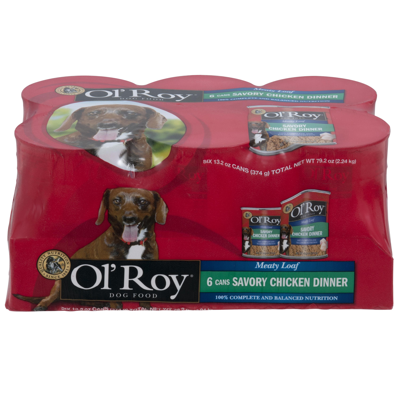 Ol' Roy Meaty Loaf Savory Chicken Dinner Wet Dog Food, 13.2 Oz, Case of 6