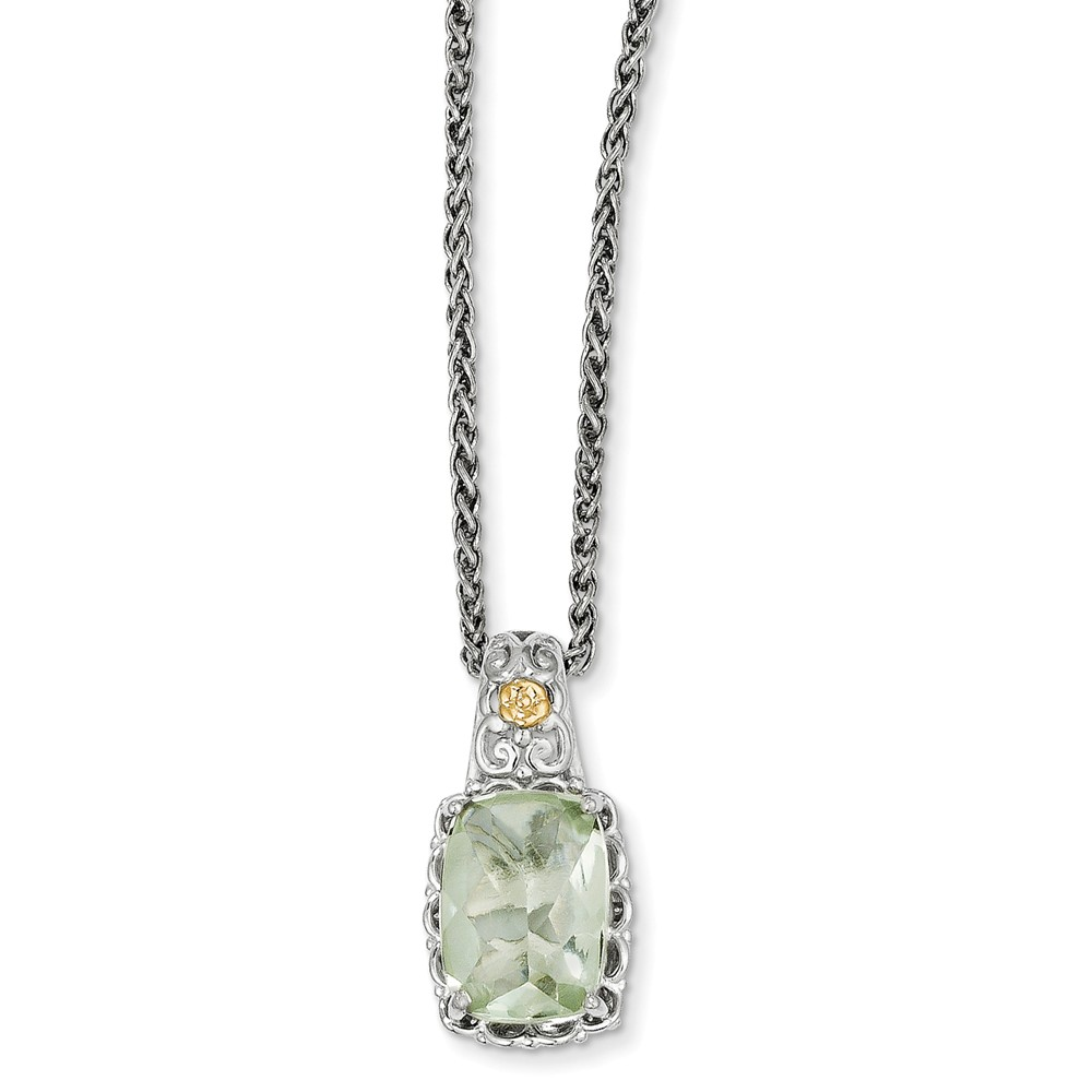 Sterling Silver w/ 14k Yellow Gold Green Quartz Vintage Style Necklace