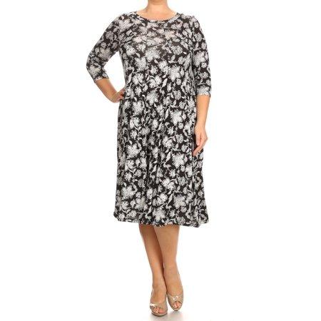 Women's PLUS trendy style, print 3/4 sleeve midi dress. ()
