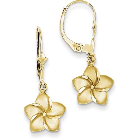 14kt Yellow Gold Satin and Diamond-Cut Plumeria Dangle Leverback Earrings by