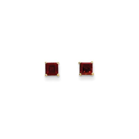 14k Yellow Gold Red Garnet 4mm Square Post Stud Earrings Birthstone January Gemstone Gifts For Women For Her