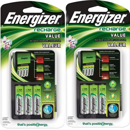 - 2 Pack Energizer Value Charger with AA Rechargeable NiMH Batteries CHVCMWB-4