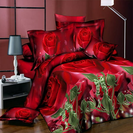 3d Rose Flower Twin Queen King Size Bedding Pillowcase