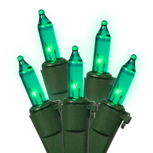 Set of 50 Teal Green Mini Christmas Lights - Green Wire