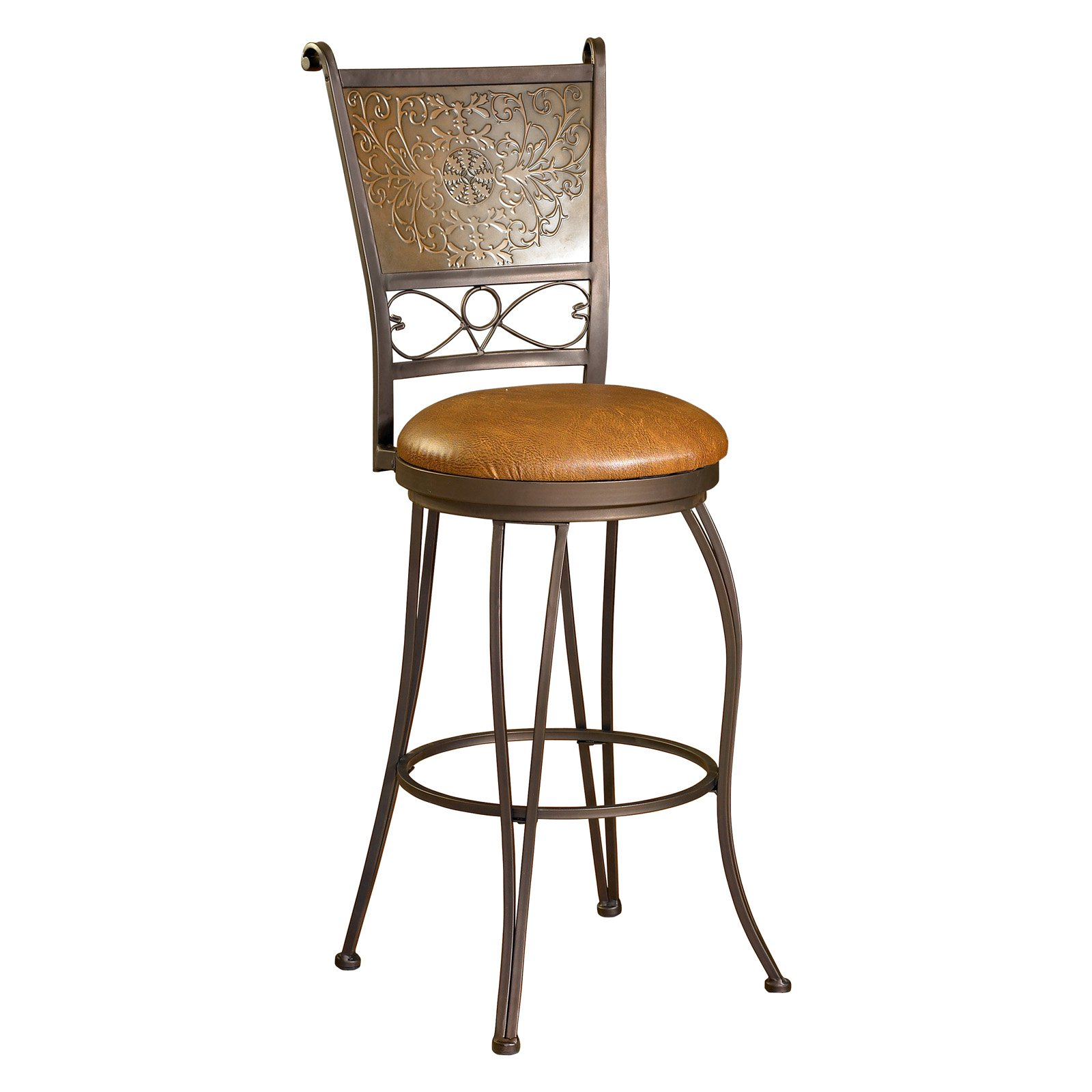 Powell Bronze with Muted Copper Stamped Back 30 in Bar Stool