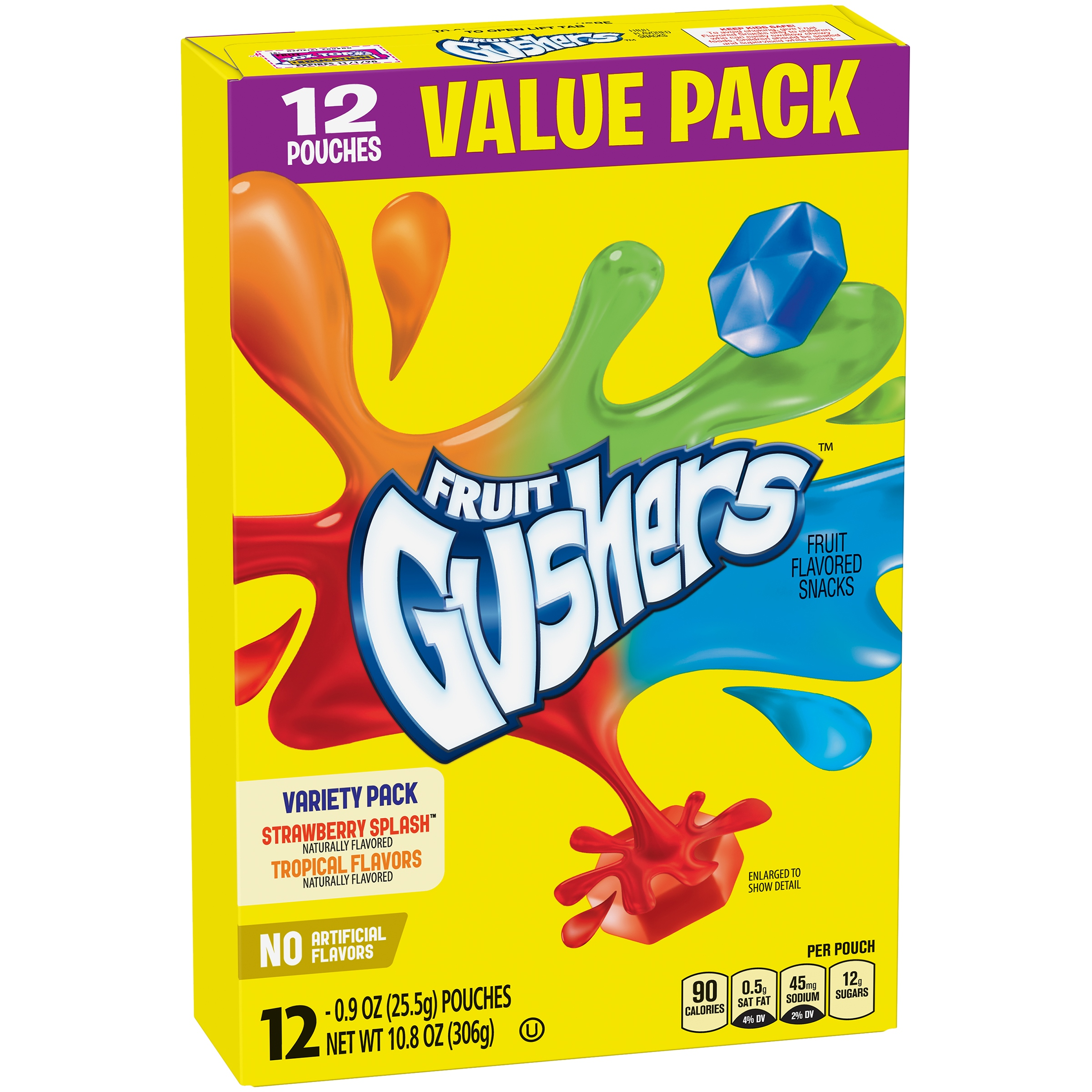Betty Crocker® Gushers Fruit Snacks Variety Pack of Strawberry Splash and Tropical Flavors Value Pack 12 - 0.9 oz Pouches