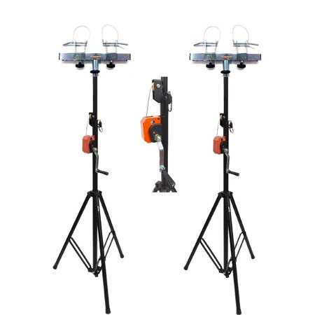 (2) DJ Pro Lighting 10 Foot Crank Light Stand & (2) Square Truss T-Bar - Tibor Light