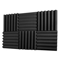 "A2S Protection 6 Pack Acoustic Foam Panels 2"" X 12"" X 12"" Soundproofing Studio Foam Wedge Tiles Fireproof - Ideal for Home & Studio Sound Insulation - Density 25Kg/CMB (Black 2"" 6pcs)"