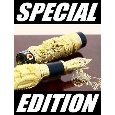 Deluxe Golden Style, Classical Chinese Dragons Playing with the Pearl Carved 3D Fountain Pen Black with Push in Style Ink Converter Removable - image 5 of 8