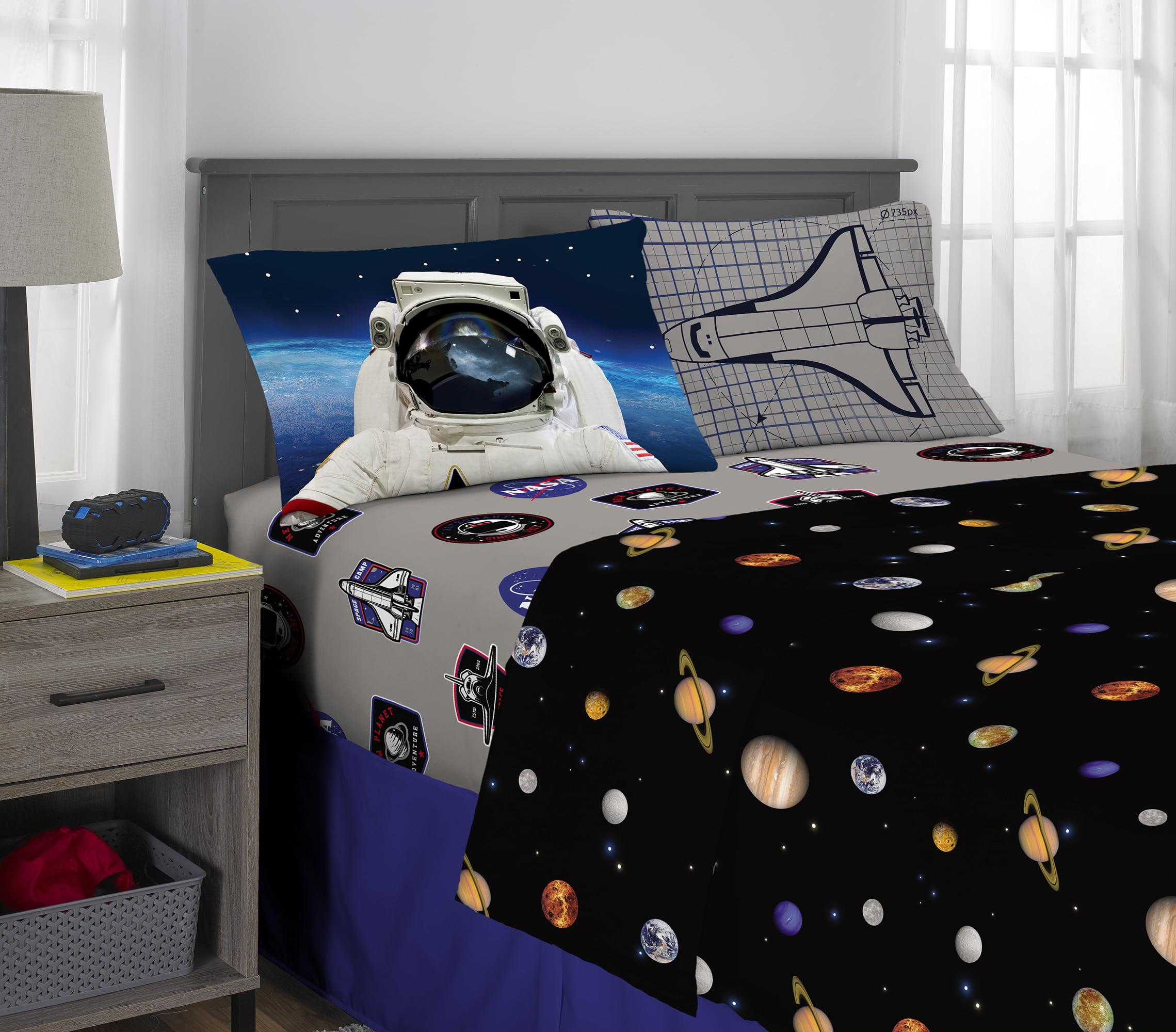Picture of: Nasa Sheet Set Kids Bedding Space Time Rocket 4 Piece Full Size Walmart Com Walmart Com