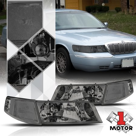 Smoke Tinted Headlight Clear Signal Reflector for 98-02 Mercury Grand Marquis 99 00 01