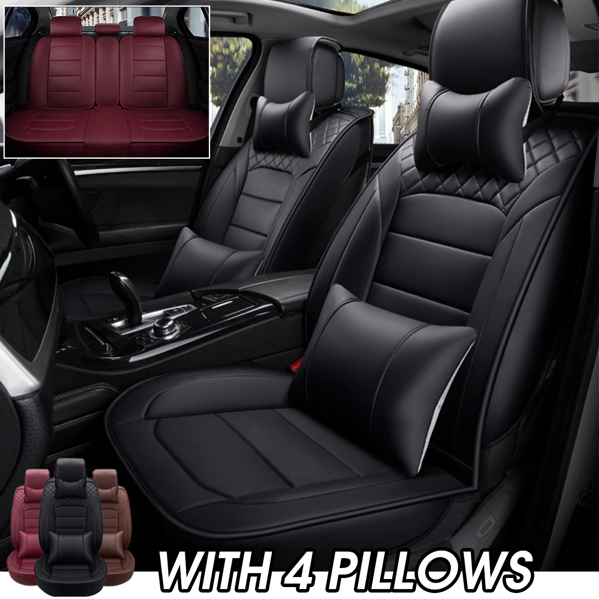 KDD Real Leather car Cushion Luxury seat Cover Four Seasons Universal 360/° Full Surround Fit Model BMW 5 Series 3 Series Audi a4la6lq5 Mercedes C200