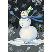 "Skating Snowman Winter House Flag Primitive Seasonal 28"" x 40"""