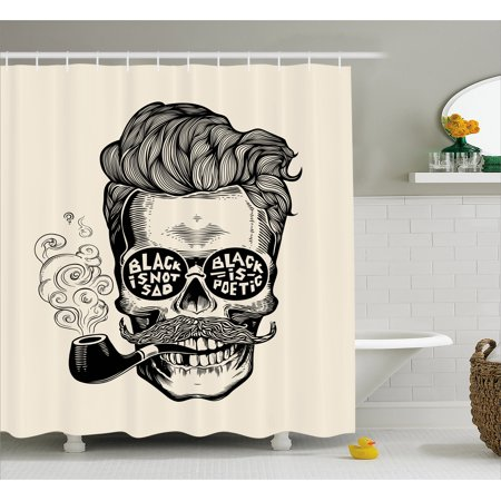 Indie Shower Curtain, Hipster Gentleman Skull with Mustache Pipe and Eyeglasses with Inscription Vintage, Fabric Bathroom Set with Hooks, 69W X 70L Inches, Black Cream, by