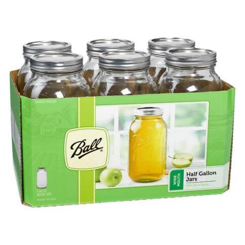 Ball Wide Mouth 1/2 Gallon Mason Jars 1 pack of 6 jars