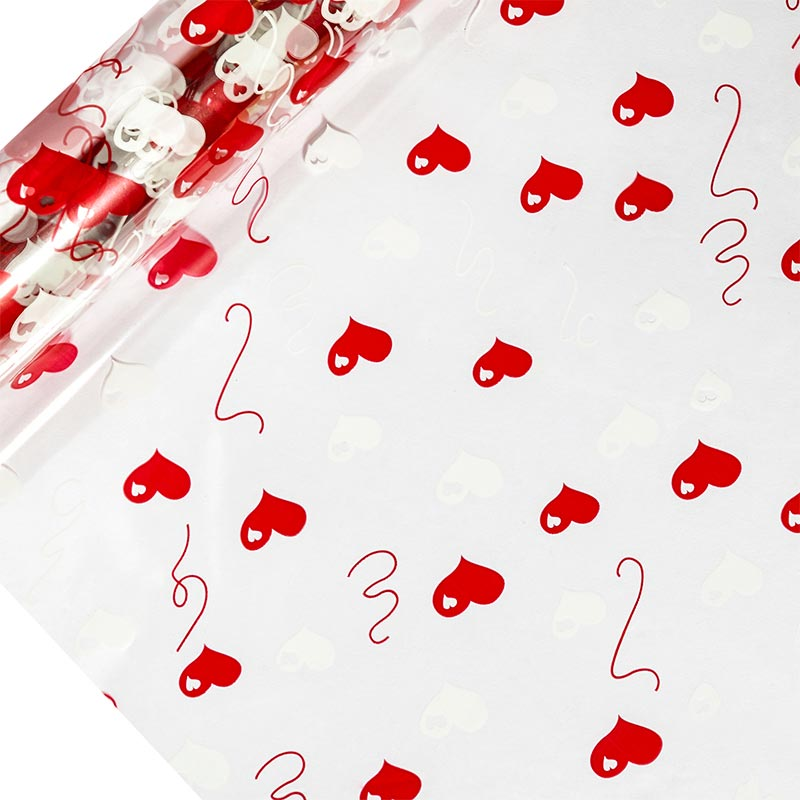 "Hearts Printed Cellophane 30"" X 100' by Paper Mart"