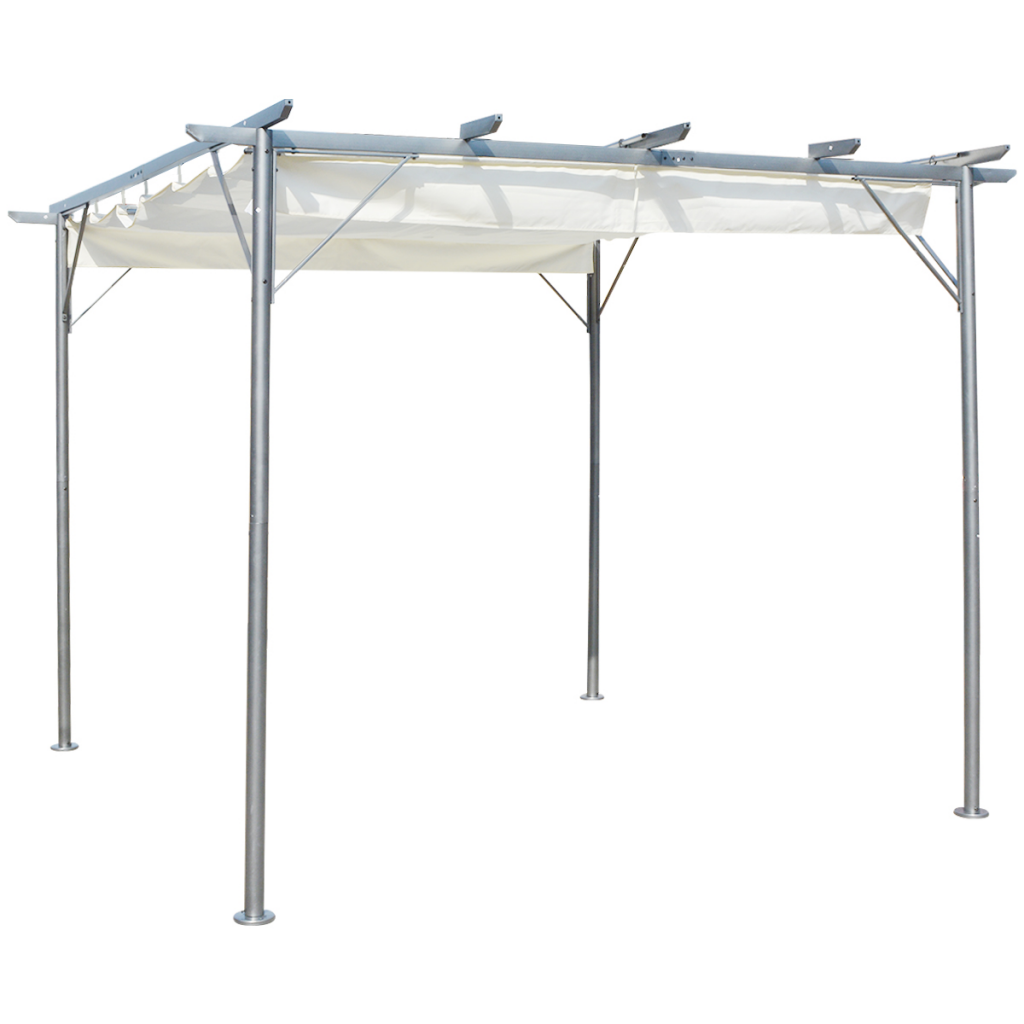 Anself Pergola with Retractable Roof Cream White Steel 9.8'x9.8' by