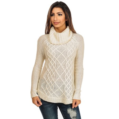 Modaxpressonline Womens Juniors Ivory Cable Knit Cowl Neck Sweater