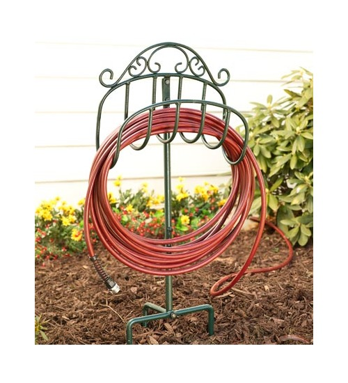 Garden Hose Reels Wrought Iron Portable Hose Holder W/ Stake