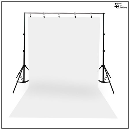 White Muslin Backdrop(10x13') with Backdrop Support Stand(10x9') and Clips for Portrait and Group Photography by Loadstone Studio, WMLS0955