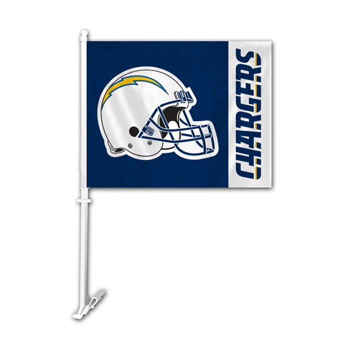 Fremont Die Inc San Diego Chargers Car Flag With Wall Brackett Car Flag