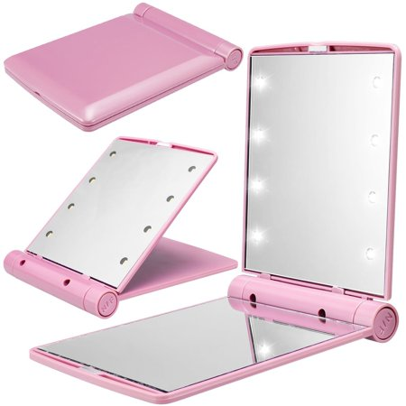 Pocket Mini LED Make Up Mirror with 8 Bright LED Lights,Cosmetic Mirror Folding Portable Compact Pocket (Lady Pocket Mirror)