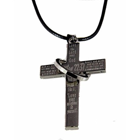 Matthew 22:37 Cross Necklace Love The Lord Your God Bible Scripture