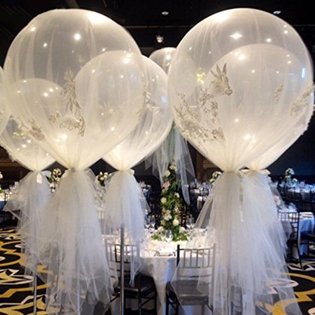 US 6Pcs Clear 36'' Large Giant Latex Big Oval Balloon Wedding Party Decoration - image 2 of 8