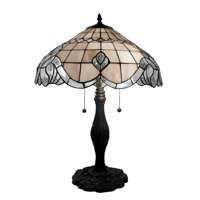 Tiffany-style Pearl White Baroque Table Lamp
