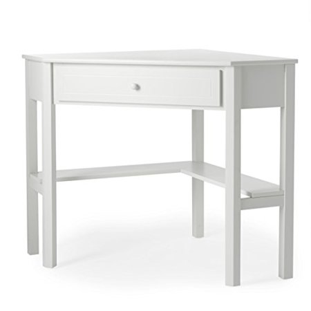 Modern Transitional White Wood Corner Writing Desks with Drawer and Shelf - Includes Modhaus Living Pen