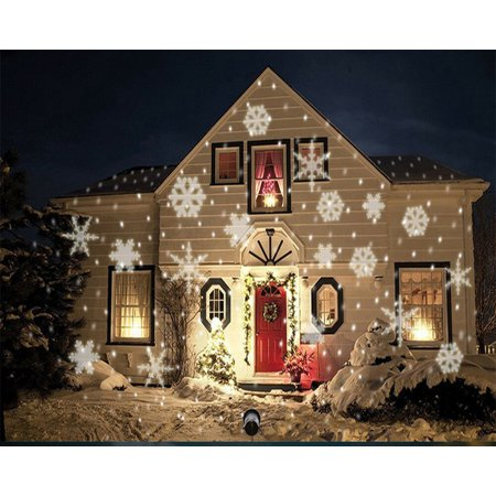 LED Christmas Light Moving White Snowflake Spotlight 4W LED Landscape Projector Lamp Light for Holiday Christmas Tree Garden Patio Stage House