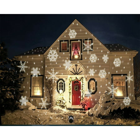 LED Christmas Light Moving White Snowflake Spotlight 4W LED Landscape Projector Lamp Light for Holiday Christmas Tree Garden Patio Stage House (Best Christmas Light Projector)