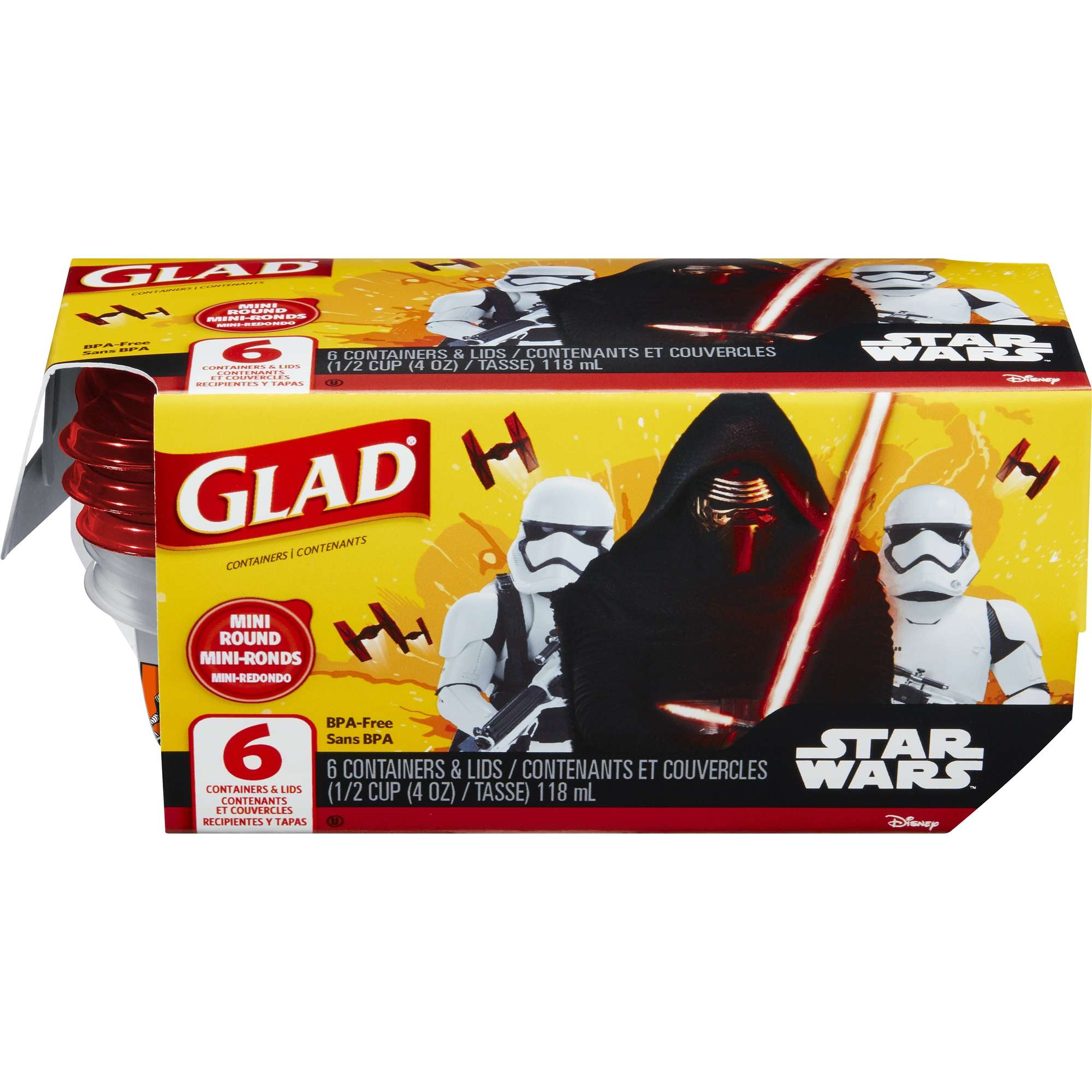 Glad Food Storage Containers - Star Wars Mini Round Containers - 4 oz - 6 ct