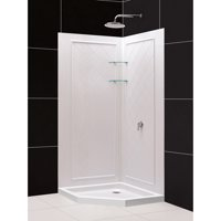 DreamLine 36 in. x 36 in. x 76 3/4 in. H Neo-Angle Shower Base and QWALL-4 Acrylic Corner Backwall Kit in White
