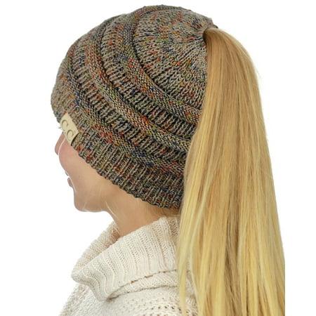 444271d5 C.C BeanieTail Cotton Blend All Season Daily Messy High Bun Ponytail Beanie  Hat, Confetti Taupe - Walmart.com