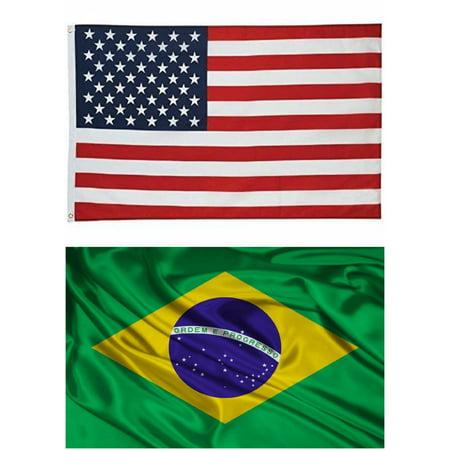 G128 - Wholesale LOT 3'x 5' USA AMERICAN & 3'x5' Brazil Flag Brazilian Football Banner - Fantasy Football Banner