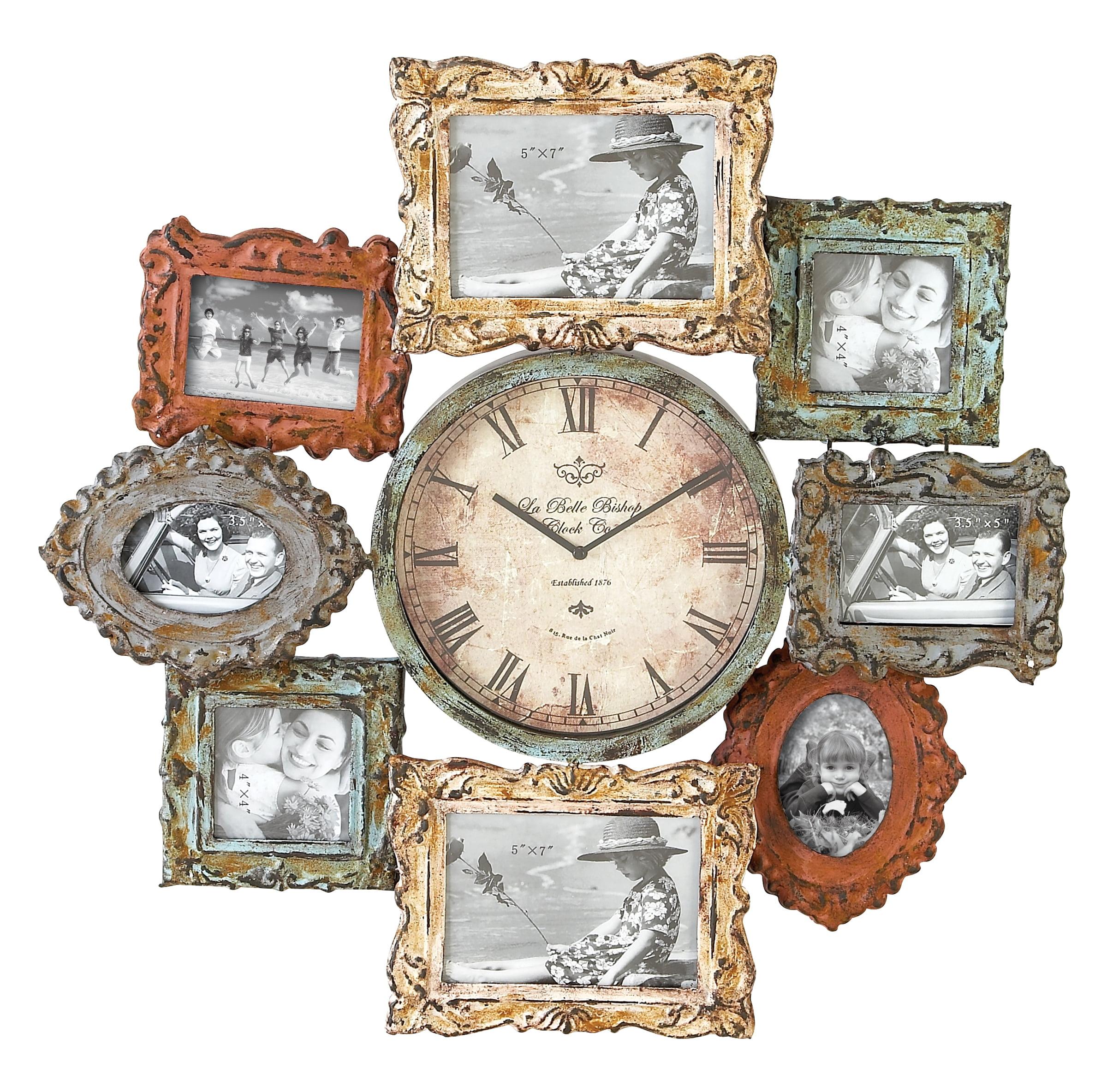 Metal Clock Photo Frame With Dual Purpose